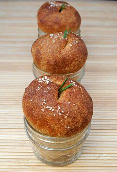 Dinner Rolls Baked in a Jar ~    The recipe is for whole wheat buttermilk rolls with rosemary and although it's baking bread from scratch, they couldn't be easier thanks to a stand mixer. The presentation is adorable in a 4oz mason jar.    Recipe @  http://www.sohowsittaste.com/2011/05/dinner-rolls-baked-in-a-jar.html
