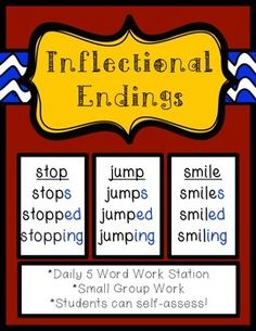 Inflectional Endings: -s, -ed, -ing Phonics Centers, Abc Phonics, Reading Words, Reading Passages, Inflectional Endings, Common And Proper Nouns, Word Work Stations, Grade Spelling, Work On Writing