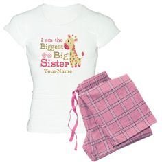 Biggest Big Sister Personalized Pink Giraffe Women's pajamas