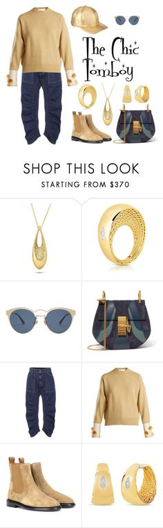 """The Chic Tomboy"" by karen-galves ❤ liked on Polyvore featuring Roberto Coin, Christian Dior, Chloé, STELLA McCARTNEY, Toga, Isabel Marant and Marcus Adler"