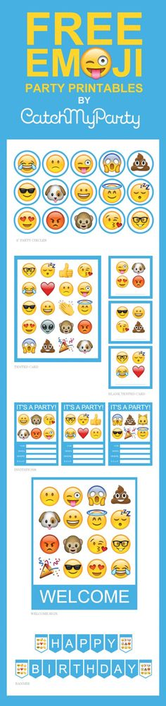 "Free Emoji Party Printables including invitations, cupcake toppers, a ""Happy Birthday"" banner, a party welcome sign, and tented cards. Download for free! 