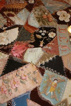 """I ❤ crazy quilting & embroidery . . . When I first saw this quilt  I remember thinking, """"That is the kind of Crazy Quilt, I fell in love with."""" The simplicity of simple treatments and well placed motifs. ~Posted By Deb, Mosaic Magpie"""