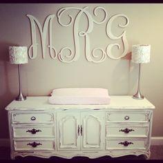 Millie's massive monogram! Tan and cream baby room nursery.
