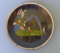 "Vintage 1940 Mexican black pottery Tlaquepaque plate with quetzal bird 9 3/8"""
