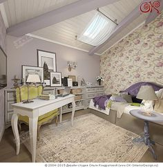 Интерьер кабинета в мансарде дома  http://www.ok-interiordesign.ru/blog/dizayn-mini-kabineta-v-dome-i-kvartire.html