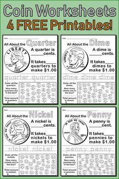 All About Coins! 4 FREE Printable Money Worksheets Learn all about coins with your kindergarten and first grade students using these four free coin worksheets! The four most common coin values are included: quarter, dime, nickel, and penny. First Grade Curriculum, 1st Grade Worksheets, Kindergarten Worksheets, Counting Money Worksheets, Teaching First Grade, Back To School Worksheets, Summer Worksheets, Free Printable Math Worksheets, Therapy Worksheets
