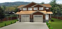 PLAN 2015878 - DUPLEX WITH CRAWL SPACE by Edesignsplans.ca.  Built with a 4' foundation, this is a great looking plan with its craftsman style posts, staggered garage, and stone trim.  Open concept three bedroom layouts with laundry on bedroom level.  Many variations of this plan.