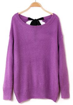 Purple Plain Bow Bat Sleeve Loose Acrylic Sweater