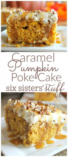 Caramel Pumpkin Poke Cake from @sixsistersstuff | If you have pie haters (or kids) coming to your Thanksgiving, I highly suggest making this. Your guests will love you forever!