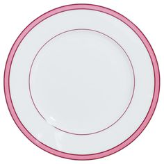 Porcelain decorated with a coloured Rim Pink Dinner Plates, Kitchen Accessories, Dinnerware, Table Dressing, Porcelain, Tropical, Tableware, Appliances, Color