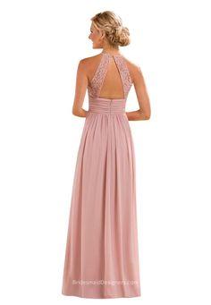 keyhole back a line sleeveless long bridesmaid dress