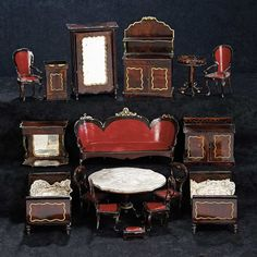 The Stein am Rhein Museum Collection: 344 Collection of German Painted Tin Miniature Furniture by Rock and Graner