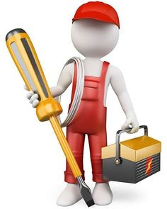 Illustration about white people. Electrician with tool box and screwdriver . Illustration of tester, repair, services - 32045238 Imagenes Gift, Animated Clipart, 3d Icons, 3d Human, Sculpture Lessons, Ville France, White People, Little People, Best Games
