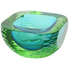 Cenedese Italian Murano Rare Sommerso Monumental Heavy Glass Bowl | 1stdibs.com