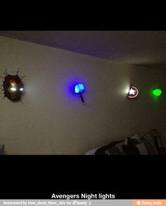 Avengers night lights / I am hoping to do this in my boys room!!