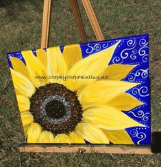 How To Paint A Sunflower - Step By Step Painting - Tutorial Sunflower Canvas Paintings, Easy Canvas Painting, Rock Painting Ideas Easy, Simple Acrylic Paintings, Acrylic Painting Tutorials, Acrylic Canvas, Painting Videos, Easy Paintings, Diy Painting