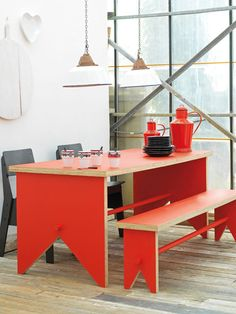 - dining - crockery - kitchenware - table - tafel - bankje - rood - lamp - e.,red - dining - crockery - kitchenware - table - tafel - bankje - rood - lamp - e. Home Furniture, Furniture Design, Origami Furniture, Coaster Furniture, Dining Table With Bench, Table Legs, Piece A Vivre, House Colors, Home And Living