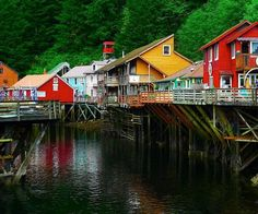 """Creek Street, Ketchikan, Alaska This is where the """"girls"""" hung out waiting for the men gold mining in Alaska. Great place to see via a cruise."""