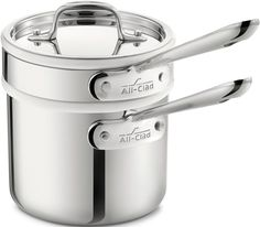 All-Clad 42025 Stainless Steel 3-Ply Bonded Dishwasher Safe Sauce Pan with Porcelain Double Boiler and Cookware Lid, 2-Quart, Silver ** To view further for this item, visit the image link.