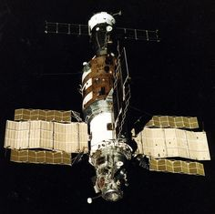 The Soviet-era Salyut 7 space station is seen in this photo by cosmonauts aboard the Soyuz T-13 mission in 1985.<br />