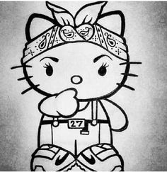 adding this to my tattoo list! Hello Kitty Drawing, Hello Kitty Art, Hello Kitty Tattoos, Kitty Kitty, Bad Kitty, Hello Kitty Imagenes, Chola Style, Lowrider Art, Kitty Images