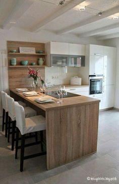 156 surprising small kitchen design ideas and decor -page 29 > Homemytri. Kitchen Room Design, Kitchen Dinning, Modern Kitchen Design, Kitchen Interior, New Kitchen, Home Interior Design, Kitchen Decor, Dining Area, Kitchen Ideas