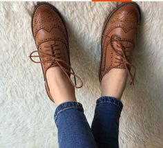 Retro Oxfords Womens Leather Flat Low Heels Brogues Wingtip Lace Up Dress Shoes #WomensShoe #oxfordwomens