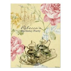 Tea Party Birthday Invitations elegant tea cup vintage floral birthday party card