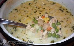 Tejszínes, tárkonyos csirkeragu leves Cheeseburger Chowder, Oatmeal, Soup, Breakfast, Diet, The Oatmeal, Morning Coffee, Rolled Oats, Soups