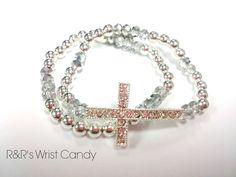 Beaded Crystal Cross Bracelet Set by RandRsWristCandy on Etsy, $9.00