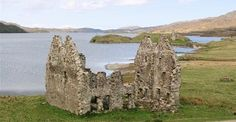 The ruins of Calda House, Loch Assynt & Ardvreck Castle beyond