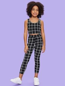 To find out about the Girls Grid Tank Top & Pants Set at SHEIN, part of our latest Girls Two-piece Outfits ready to shop online today! Kids Outfits Girls, School Outfits, Outfits For Teens, Girl Outfits, Casual Outfits, Cute Outfits, Fashion Outfits, Tween Girls, Style Fashion