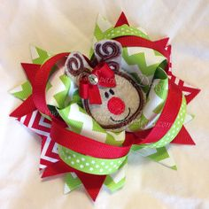 Reindeer Hair Bow Style 2 - Christmas Collection - Sarah's Sparkling Designs
