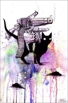 Super Cat - Fine Art Print by Lora Zombie - Prints from $49.99  http://www.eyesonwalls.com/products/supercat #lorazombie #art #grungeart #cat #painting