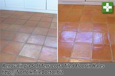 How the Terracotta floor tiles at this property in the Village of Hales, Norfolk became quite so comprehensively dirty in so short a time, we will never know. We were contacted by the new owner, a lady who had become so distressed by the state of the floor in the house she had recently bought that she was seriously considering ripping up the entire area of tiling and replacing it.