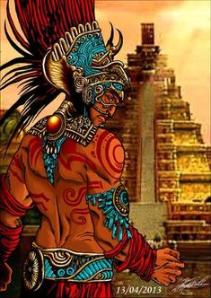 This is an Aztec priest drawn and coloured on photo-filter with a Tenochtitlan background, Hope you like it! please leave a comment.