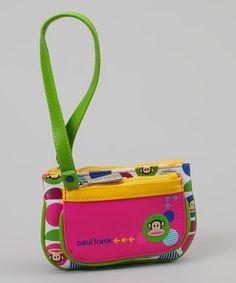 Neon Green & Pink Monkey Polka Dot Wristlet by Paul Frank