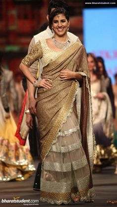 Parizad Kohlapuri in gold saree #saree #sari #blouse #indian #outfit  #shaadi #bridal #fashion #style #desi #designer #wedding #gorgeous #beautiful