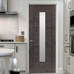 Laminates Alabama Cinza Dark Grey Coloured Door with Clear Safety Glass is Prefinished - Lifestyle Image.  #darkdoor #moderndoor