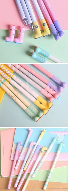 Kawaii wellington boots pastel gel pens! These pens are so adorable. Get in my stationery collection now! #as #stationery #kawaii #pastel