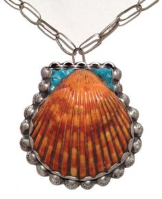 Pueblo Necklace  shell pendant of turquoise and coral strung on hand wrought chain. Circa: Mid 1900s