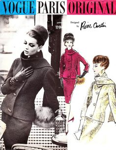 Model is wearing a creation by Pierre Cardin.  Vogue Paris Original Patterns,1962.