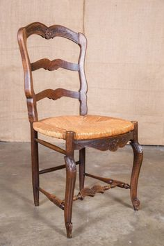 Set Of Eight Country French Antique Provencal Rush Seat Ladder - Country french chairs