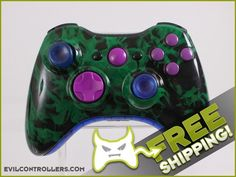 Pre-Designed Green Fire Custom Xbox 360 Controller - Brand New 360 Controller