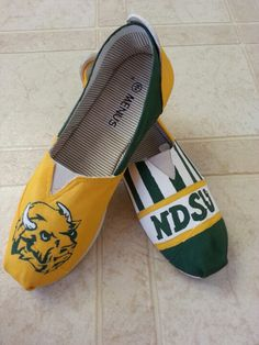 North Dakota State University.  NDSU Bison hand painted toms and canvas shoes. facebook.com/SassyYourSole