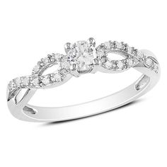 Lab-Created White Sapphire and Diamond Accent Twine Promise Ring in Sterling Silver - Zales .........Biggest item on my wish list right now is a promise ring.