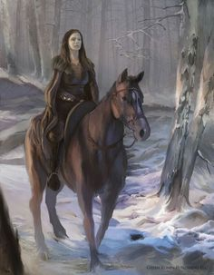Catelyn Tully / Stark on horseback, by Paolo Puggioni.