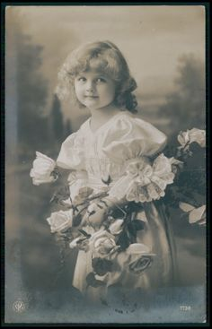 Pretty Edwardian Child Girl Blond Hair fantasy vintage old 1910s photo postcard