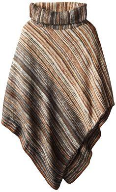 David & Young Women's Diagonal Stripe Woven Poncho, Brown, One Size