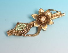 Asian Fan Brooch Bamboo Flower Rhinestones 1928 by PastSplendors
